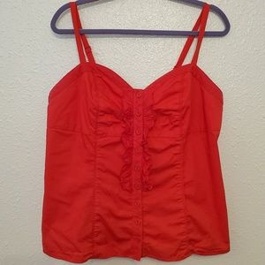 Torrid red tank top with ruffles